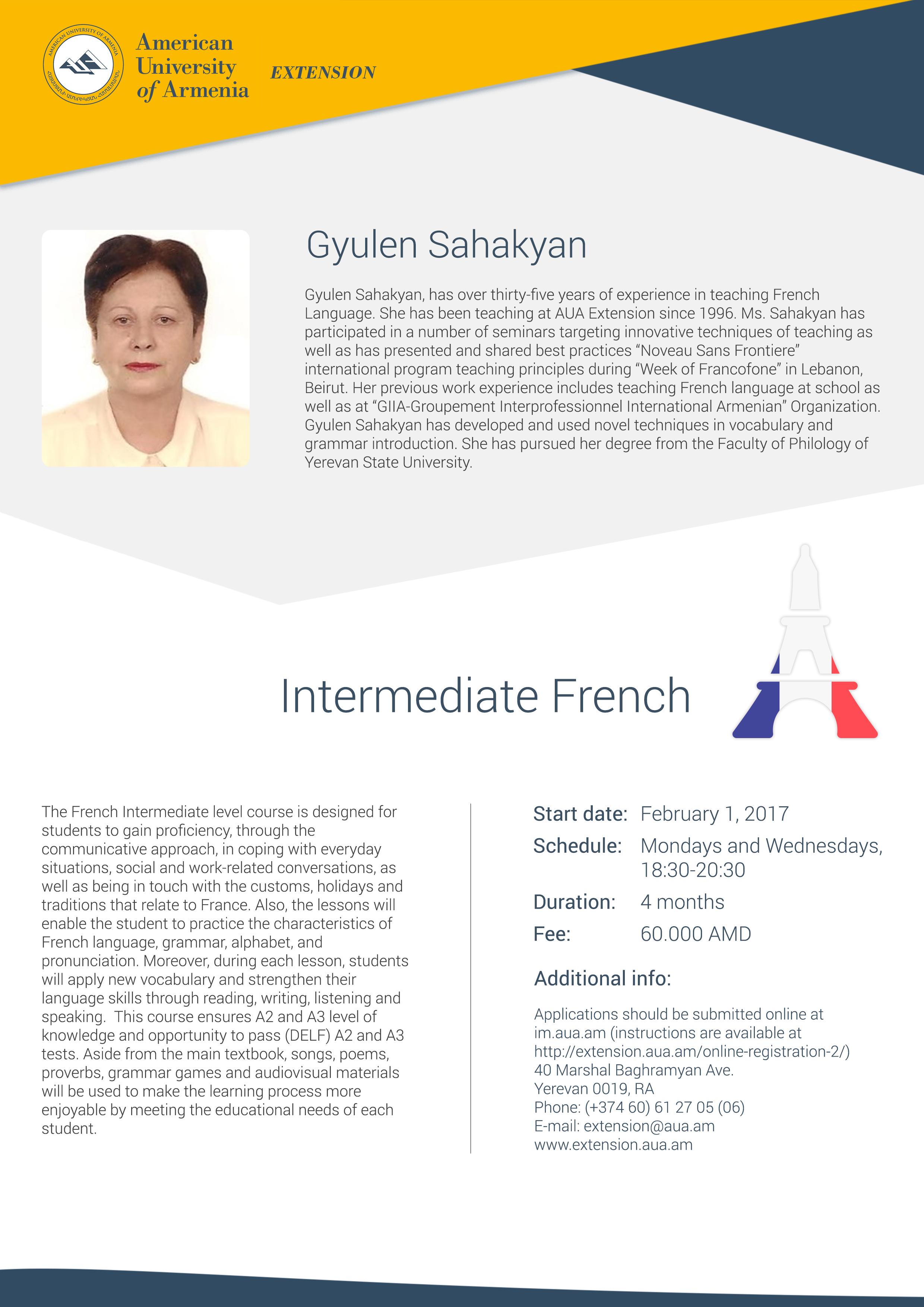 Intermediate French – AUA Extension